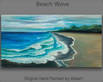 Original abstract painting oil painting Sea art Beach Wave with fiery sky on gallery wrap canvas  48x24