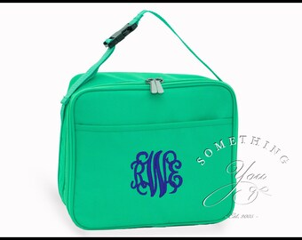Buckingham Collection Monogrammed Insulated Lunch Bag, Personalized School Bags, Mint lunchbox for kids, lunch cooler, lunch tote