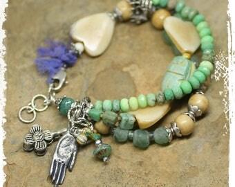 Chunky boho heart bracelet, Statement bracelet for women, Green chrysoprase bracelet multi-strand, Protection bracelet mixed media,