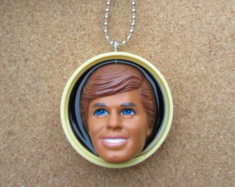 Yellow Ken - Upcycled Bottle Cap doll necklace