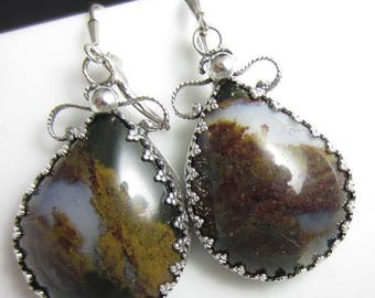 SUMMER SALE The Mossy Plume Earrings - Plume Agate Set in Sterling Gallery Wire with Filigree Backing