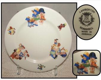 "Vintage Lamberton Scammell 8"" China Childs Plate w/ Cute Cartoon Kids & Animals"