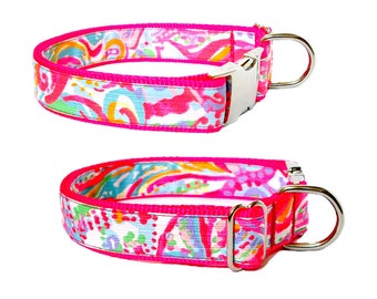 2017 SWISH FISH Dog Collar and/or Leash with Bow or Flower Option Made from Lilly Pulitzer Fabric on Neon Pink Size: Your Choice