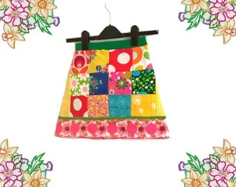 Girls Patchwork / Vintage Fabric A-Line Skirt - Handmade Clothing by DearLisaUk - Bright Retro Cotton Fabrics