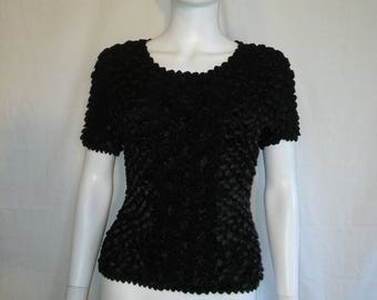 90s black SCRUNCHY top womens  super stretchy TEXTURED shirt one size fits most   tee
