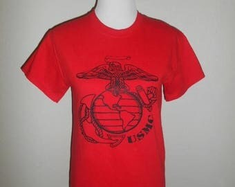 Closing Shop 40%off SALE Vintage United States Marine Corps  USMC  red  tee T-shirt t shirt