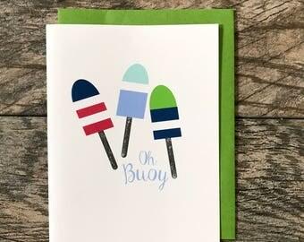 Oh Buoy Greeting Card, Hand Glittered Card, Blank Inside