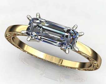 suri ring - 1.5 carat emerald cut ZAYA moissanite ring, east west ring