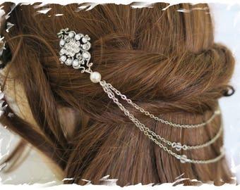 Art Deco Inspired Crystal Bridal Headpiece Flapper Back Hair Piece Gatsby Downton Abbey Head chain Wedding Hair Drape Vintage Boho Hair Wrap