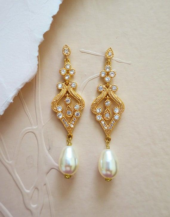 gold bridal earrings, gold chandelier earrings