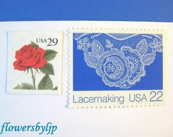 Red + Blue Postage Stamps Unused Vintage, Red Rose - White Lace on Blue, 49 cents postage, Mail 10 RSVPs Cards, 1 oz floral lace stamps