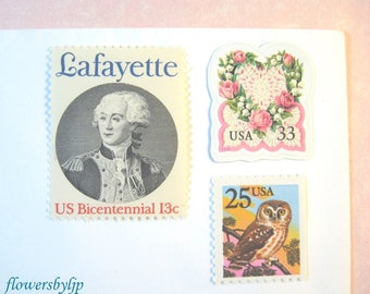Romantic Postage Stamps 2018 rate, Pink Rose Love Wreath - Frenchman - Bird in Tree Stamps, Mail 20 Wedding Invitations 2 oz 71 cents, owl