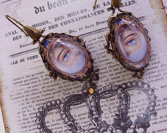 Thru My Lover's Eyes, Victorian and Georgian inspired dangle earrings, altered art jewelry,romantic gifts, love, romance,lover's eye jewelry