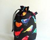 Drawstring Bag, Padded Knitting Project Bag - Bird Watchers