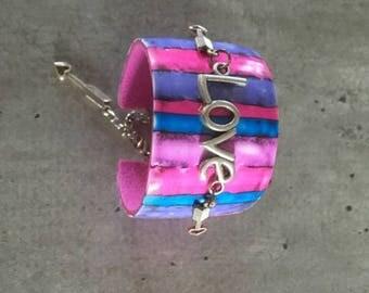 Polymer clay bracelet - violet / parme