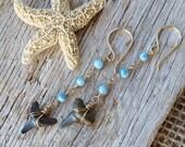 Nature Lover Gift for Wife / Long Drop Shark Tooth Earrings / Boho Girl Gift / Gift for Teen Daughter / Gift for Niece / Surfer Girl