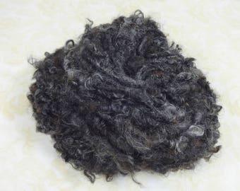 Bulky Handspun Yarn Lock Spun 36 yards Fleece Spun black gray