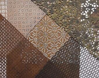 "Vintage Japanese Katagami Stencil Kit Persimmon Paper ""Kit #1"""