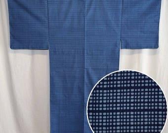 Vintage Japanese Yukata Kimono Robe Man's Summer Cotton - Two Blues
