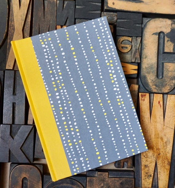 Journal - Large Lined Grey, Yellow and White Dots
