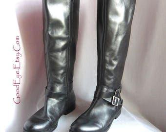 Vintage WIDE CALF Biker Boots w Ankle Harness / size 8 .5 m Eu 39 Uk 6 /  Black Leather Stretch Vents / made Brazil