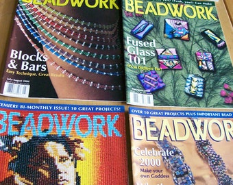 Beadwork Magazine Issues Vol. 3 #1 thru Vol. 3 #6  Winter 2000 thru Dec 2000  Six Issues Bead Magazines