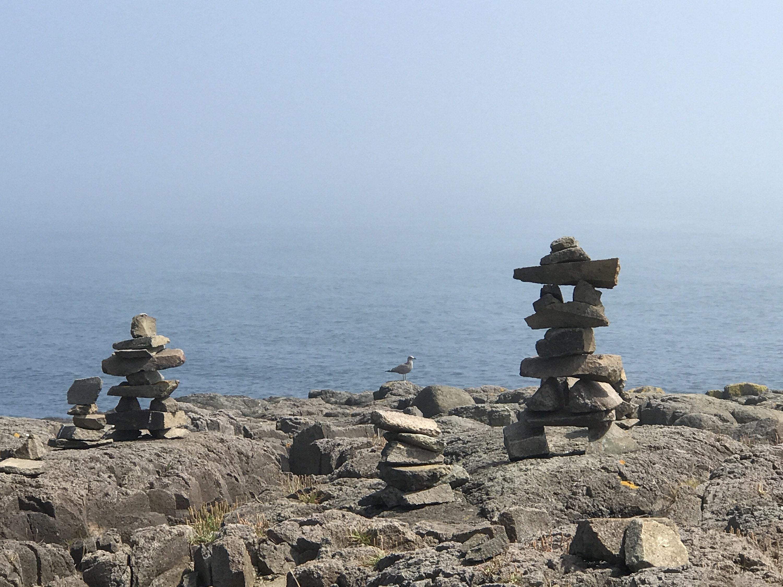 inukshuk on brier island, nova scotia