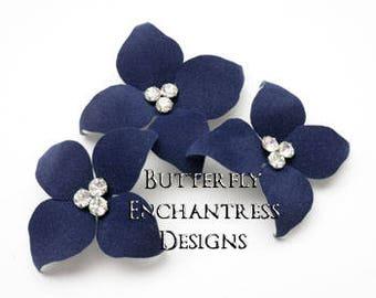 Something Blue Bridal Hair, Wedding Hair Accessories, Rustic Nautical Beach Hair Flower Headpiece - 3 Navy Blue Hudson Dogwood Hair Pin Set