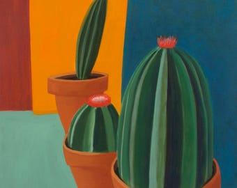 Trio of Cactus Still Life Original Oil on Canvas
