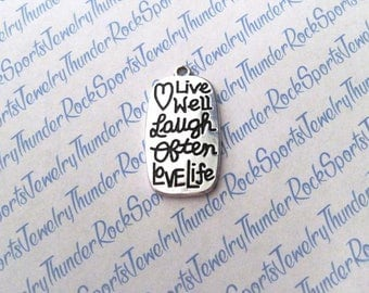 Live Well Laugh Often Love Life CHARM, rectangle Antique Silver, engraved Word PENDANT, phrases, sayings, MESSAGE