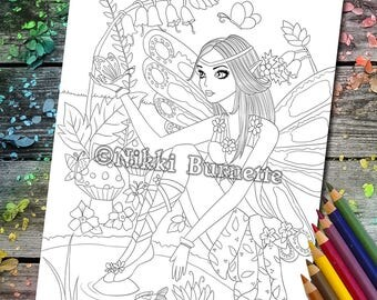 Coloring Page - Digital Stamp - Printable - Fantasy Art - Fairy - Butterfly - Pond - Stamp - Adult Coloring Page - FLORA - by Nikki Burnette
