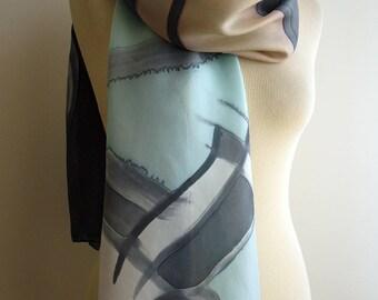 Hand Painted Silk Scarf. Silk Scarf. Hand Painted Silk Shawl. 71x18 in. Wedding Gift. Giveaways. Ooak scarf. Blue -Tan- Grey silk scarf.