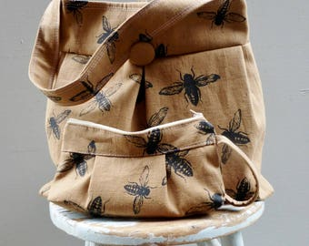 Ginger Bee Bag and Pouch Set - 3 Pockets - Key Fob - Hand Printed