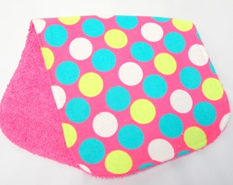 Baby Girl Burp Cloth, Baby Shower Gift, Welcome Baby Gift, New Mom Gift: Large Polka Dots on Pink