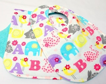 Baby Girl Bib and Burp Cloth, Baby Shower Gift, Welcome Baby Gift, New Mom Gift: ABC's and Animals