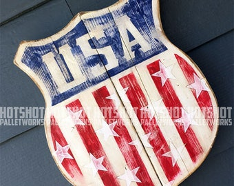 USA, Shield, America, Americana, Stars, Stripes, Red, White, Blue. Vintage-looking upcycled wood sign, hand made, hand painted