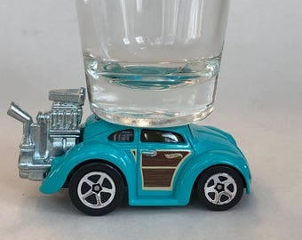 The ORIGINAL Hot Shot, Classic Hot Rods, Shot Glass, Custom VW Beetle. Hot Wheel, Turquoise