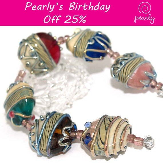 Pearly Romantic Metallic Stones Lampwork beads (6) SRA