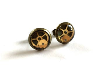 CLOSING DOWN SALE Steampunk Neo Victorian Vintage Watch Parts Broze stud Posts Earring