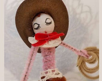 Vintage Style / Pipe Cleaner Cowgirl Figure / Vintage Craft Supplies / Vintage Spun Cotton Head / Flocked Cowboy Hat / Dog / Handmade