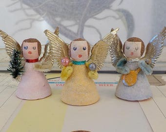 Vintage / Spun Cotton Watte Angel Figures / Set of Three / Retro Charm / Made in West Germany