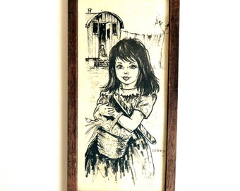 Vintage Big Eyed Art by Cocky, Wall hanging Print in Wood Frame, Black and White Drawing, Cute Gypsy Girl Nursery Decor
