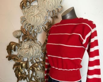 1980s sweater red sweater cropped sweater wool sweater size small vintage sweater liz claiborne striped sweater 32 bust