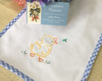 Little Duck & Dragonfly - Hand Embroidered Burp Cloth by Cornflower Creations