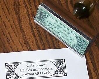Xmas in July Custom Return Address Rubber Stamp Heart Tile Frame AD11