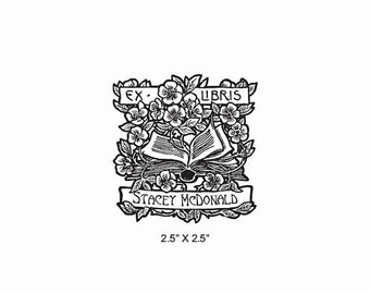 Xmas in July Books and Roses Personalized Ex Libris Rubber Stamp E12