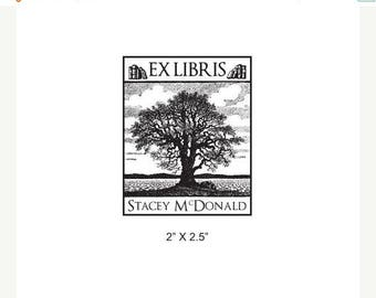 Xmas in July Old Oak Tree Personalized Ex Libris Library Rubber Stamp I33