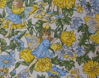 VINTAGE Fairy Thumbleina floral fabric yellow blue fabric quilting apparel doll clothes vintage Hoffman fabric