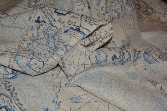 Fabric upholstery by the yard old world map waverly chart house sold by vintageinspiration gumiabroncs Image collections