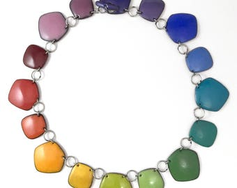 Rainbow Chakra Necklace Collar no. 4 stainless steel 18 inches long